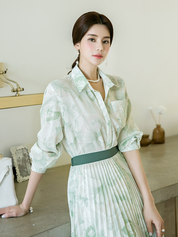 B2405复古/古典花女衬衫