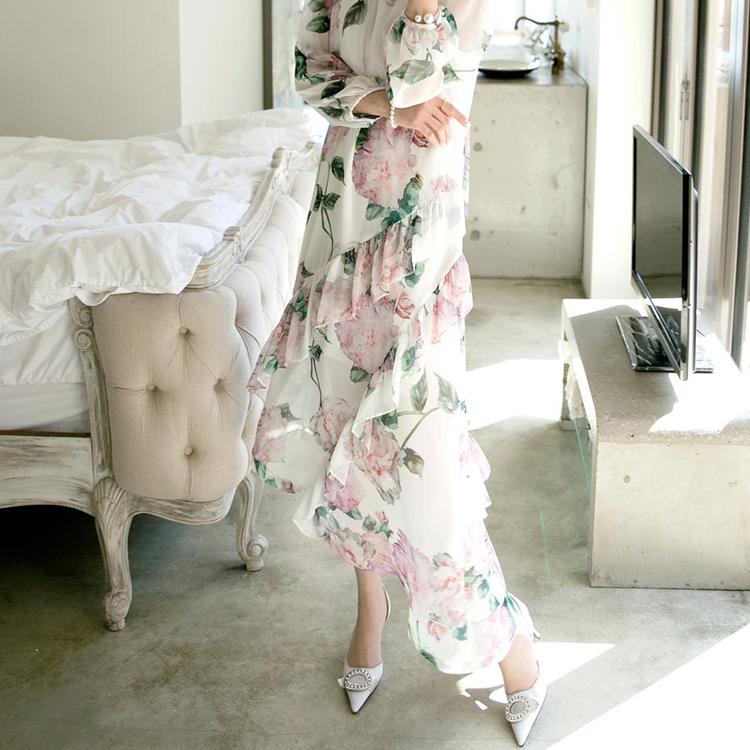 D3759 玫瑰不规则雪纺连身裙 (领巾组合)