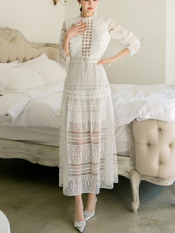 D3767印花蕾丝层连身裙