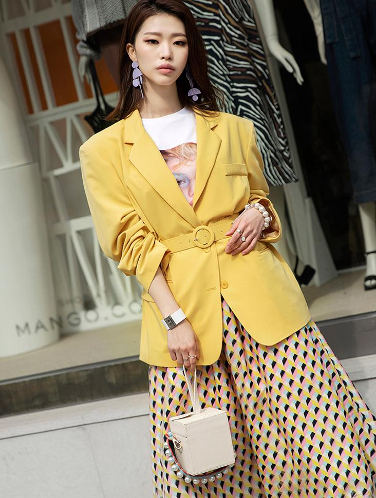 J612 柔和色宽松夹克 (腰带组合)