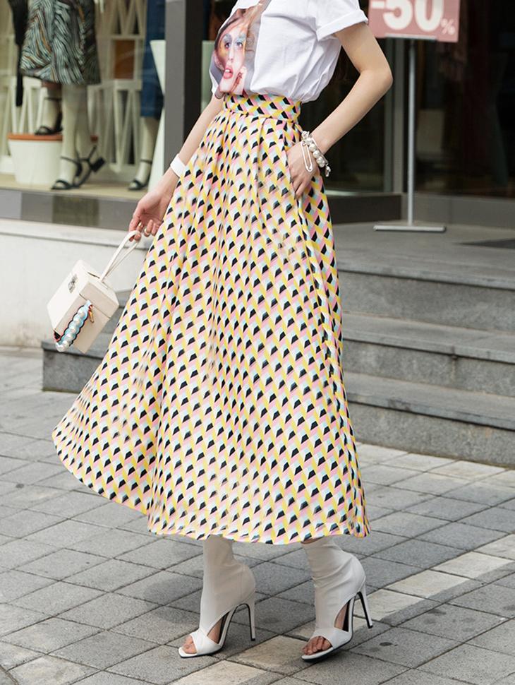 SK9038 菱形格纹半身裙