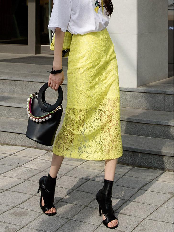 SK1875 花纹蕾丝半身裙