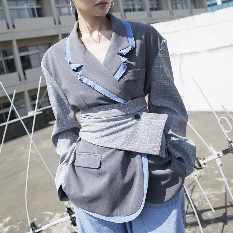 J594 单宁宽版格纹夹克 (腰带组合)