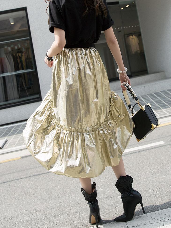SK1872 金色不规则半身裙