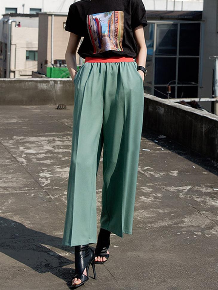 P2030 配色腰带宽裤