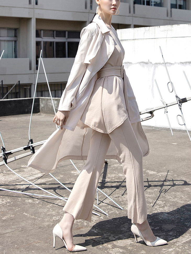 J615 丝滑光亮风衣 (腰带组合)