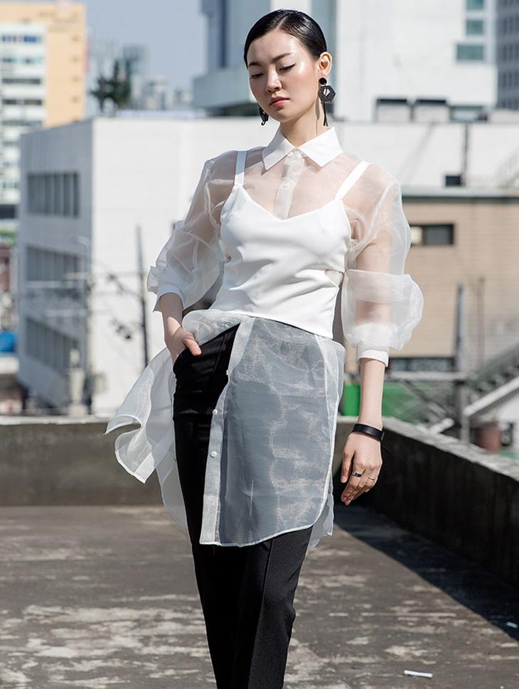 S292 透明硬纱长版透视衬衫