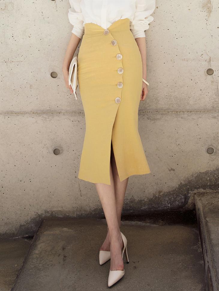 SK1878 圆扣亚麻半身裙