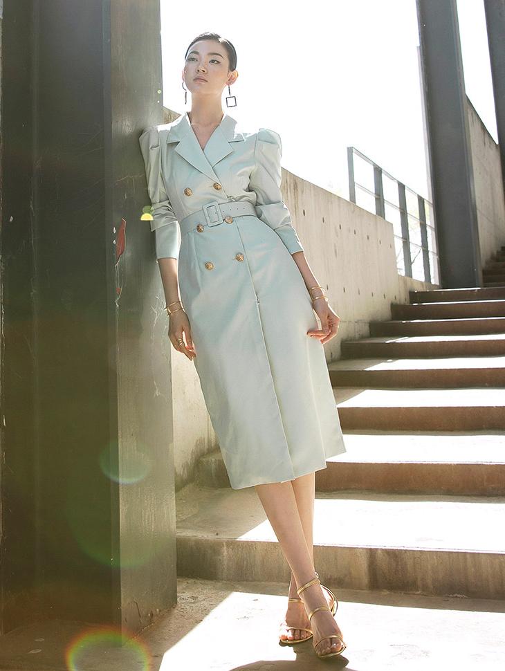 D3777 K-Tin金色纽扣连身裙(腰带套)* 德鲁纳酒店 IU 着用款 *