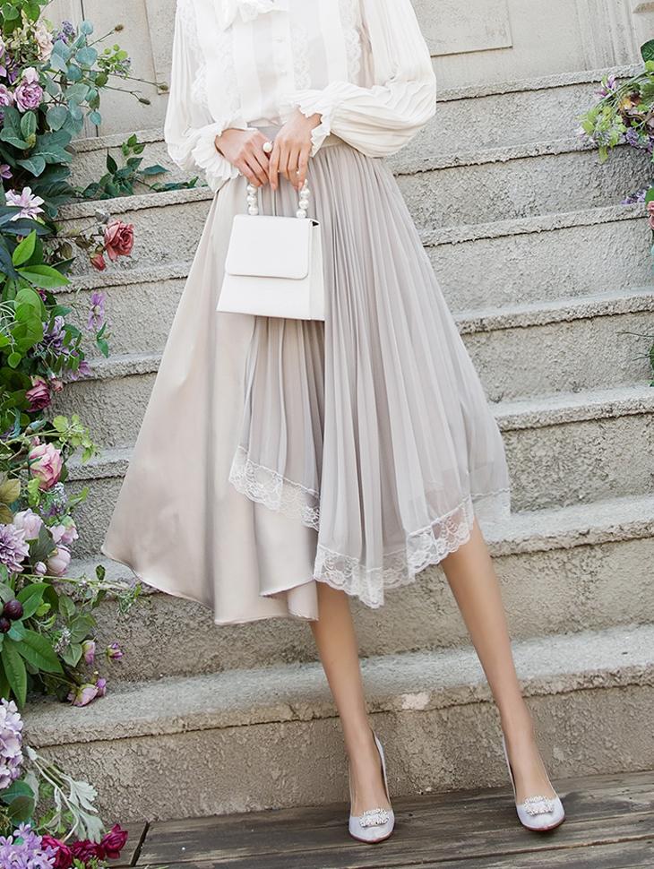SK1886 Berise雪纺蕾丝裙子