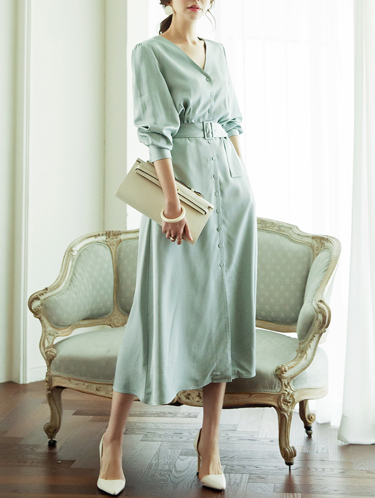 D3785 V领舒适连身裙 (腰带组合)