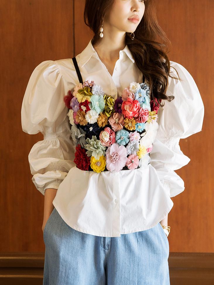 E1963浪漫花朵抹胸上衣(3进进货)