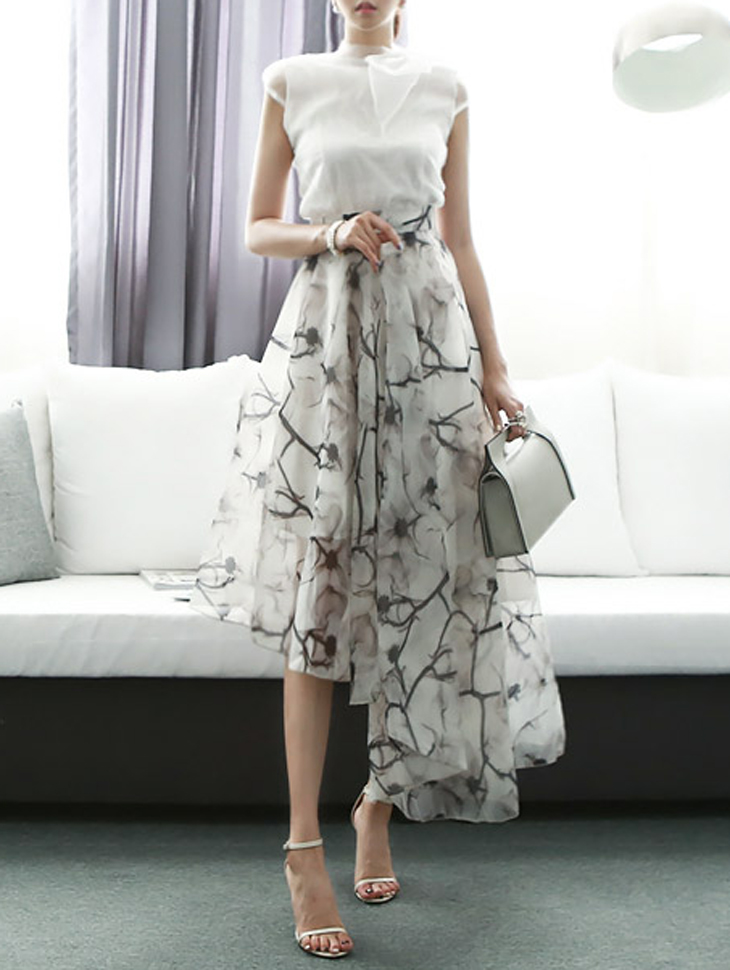 SK1106 印染 不对称 裙子(第145次进货)
