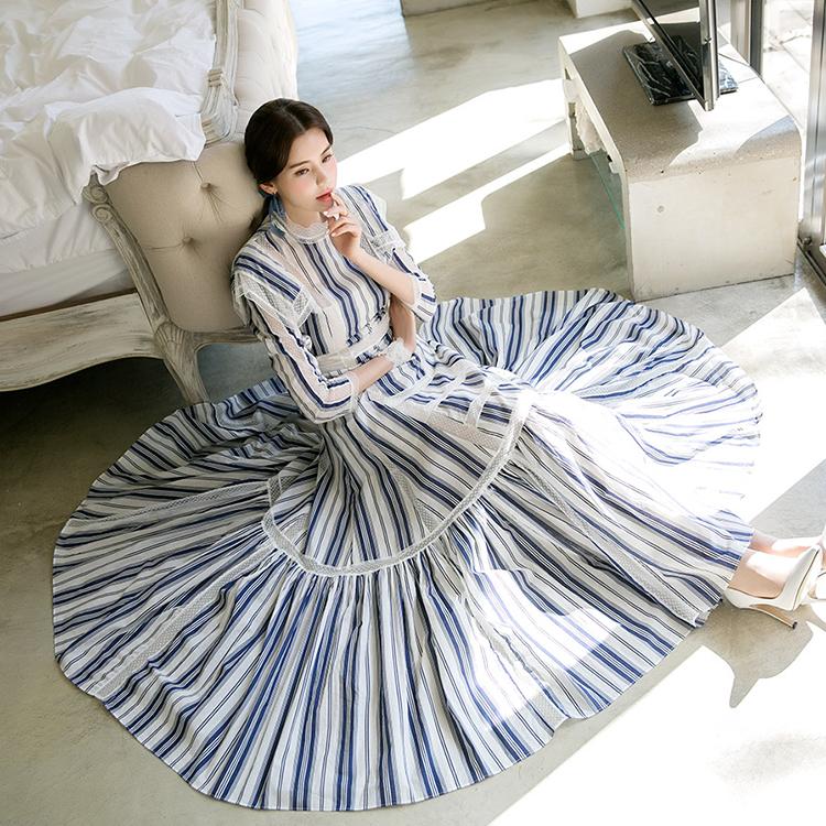 D3768丝丝长版条印连身裙(内套)* L尺寸制作*(3进进货)