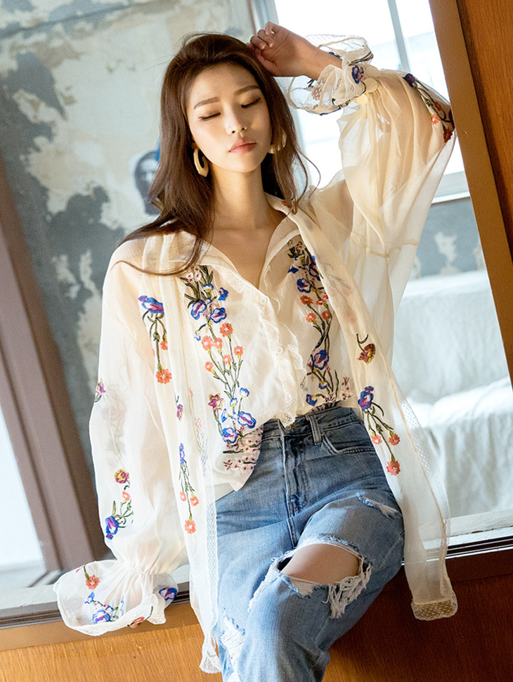 B2417围巾花女衬衫(内套)(3进进货)