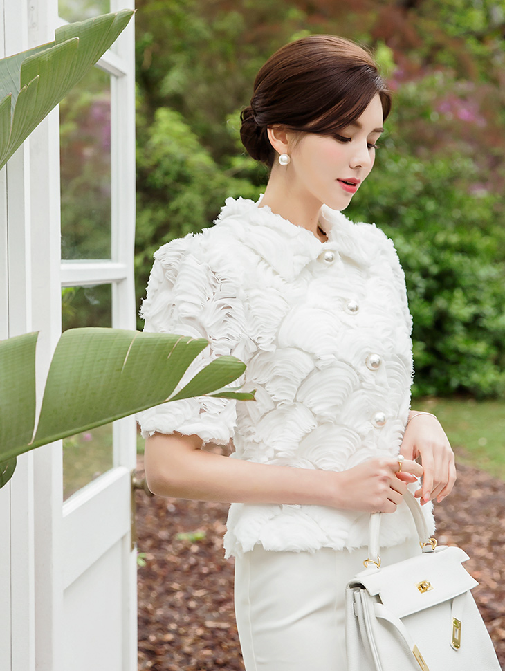 B2419 玫瑰雪纺纱 (也能用以外套着用)