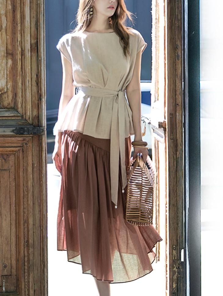 B2256 Glan皱折女衬衫(腰带套)(18进货)
