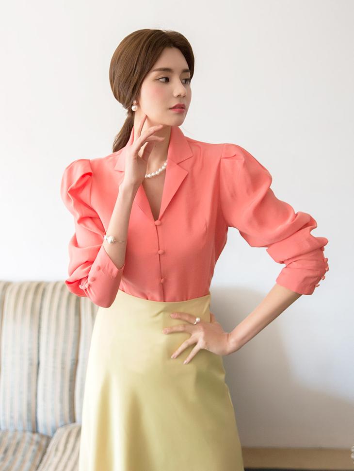 B2393杰克泡泡袖套女衬衫(9进进货)