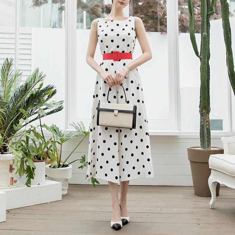 D3789圆点亚麻公主连身裙(腰带套)(6再进货)