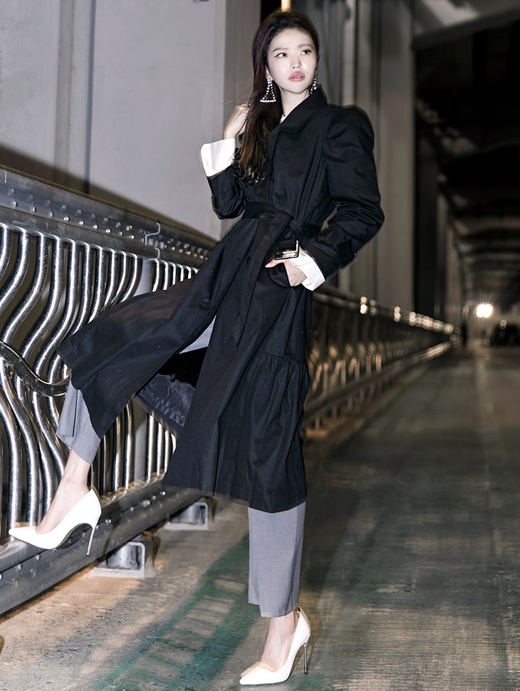 J-5011マント包包装边衣呢子大衣(腰带套)*米色*
