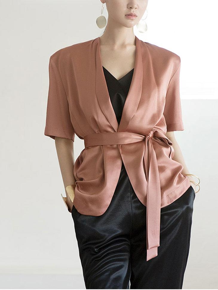 J654 Glossy巾巾领夹克(腰带套)(6进货)