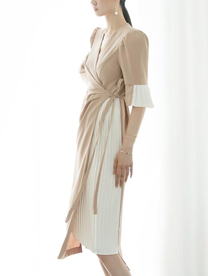 D3794 百褶裙绑带连身裙