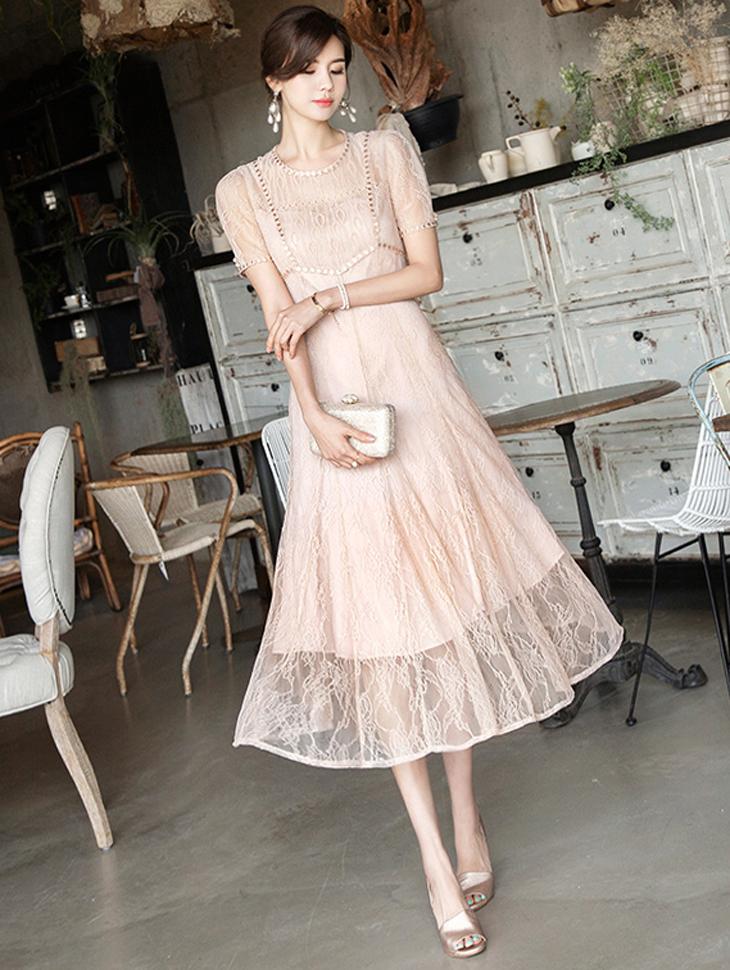 D3802 蕾丝长板连身裙