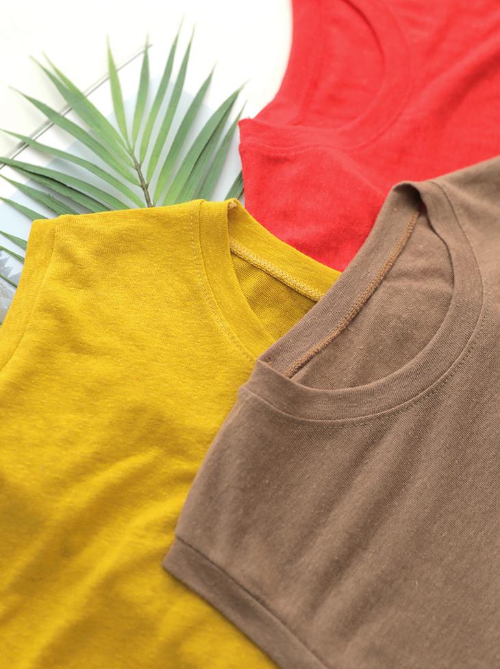 E1986彩色流行亚麻袖袖上衣(18进货)