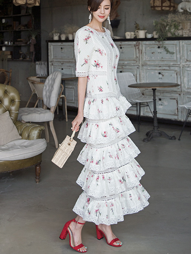D3801 花朵蕾丝叠层连身裙 (内搭组合) *L尺码制作*
