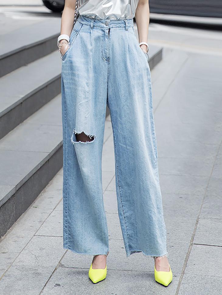 PJ372 宽裕水洗感丹宁裤
