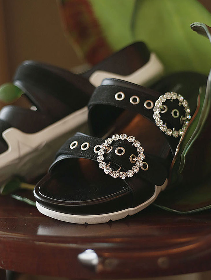 DTHAR-004双圆立方体骡子拖鞋*手工制作*