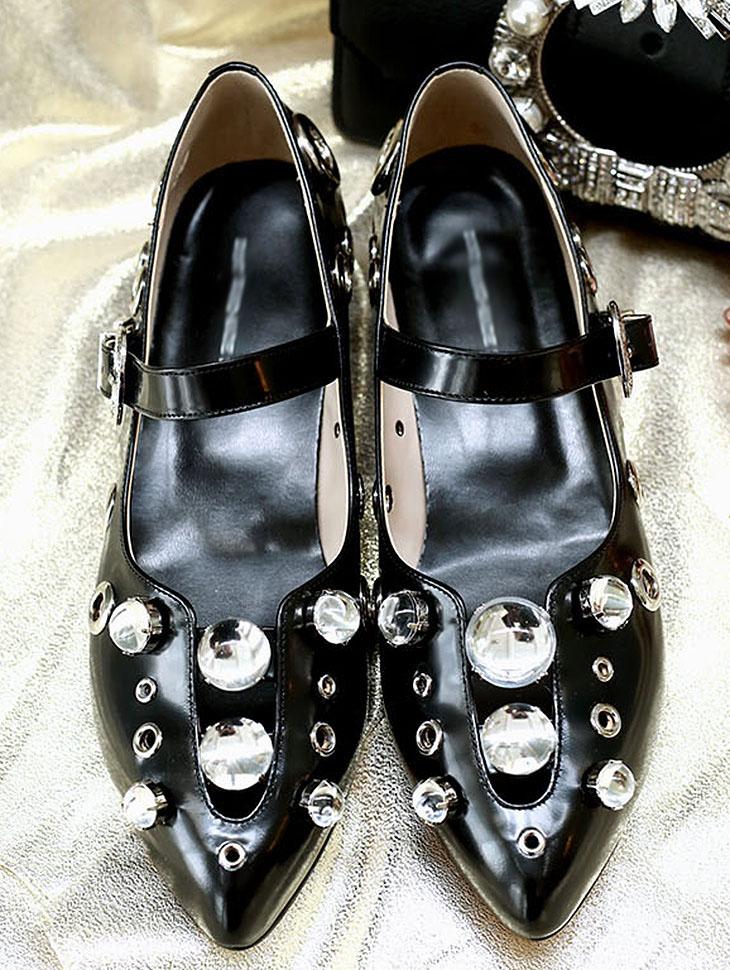 DTHAR-007宝石束腰低跟的鞋*手工制作*