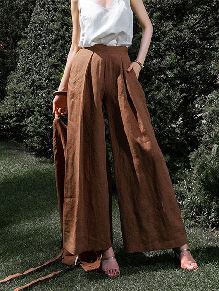 P2063 亚麻宽裤