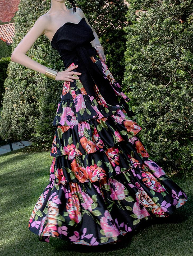 SK9046 花朵叠层长版半身裙