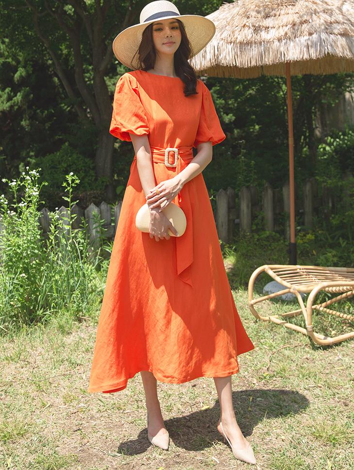 D3815 色彩泡泡袖连身裙 (腰带组合)