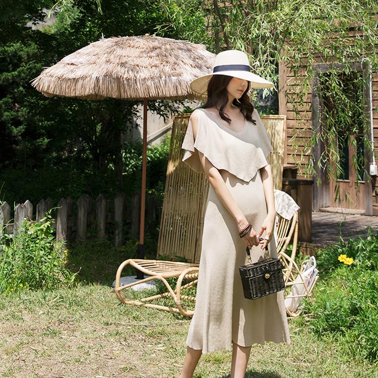 D3813 Selen肩缝针织衫连身裙(15进货)