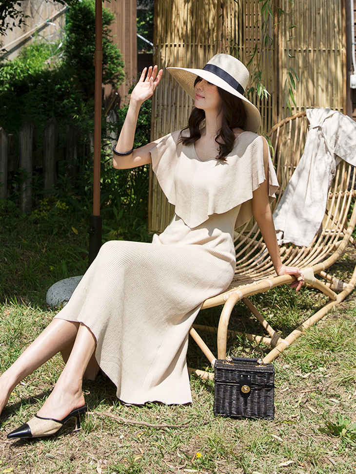 D3813 selen肩缝针织衫连身裙(6再进货)