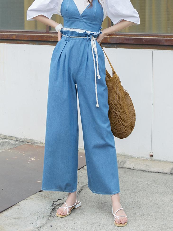 PJ375 麻绳束带丹宁裤 (腰带组合)