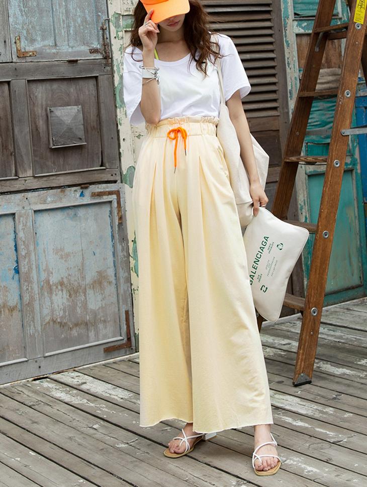 P2072 绑带色彩重点简约裤