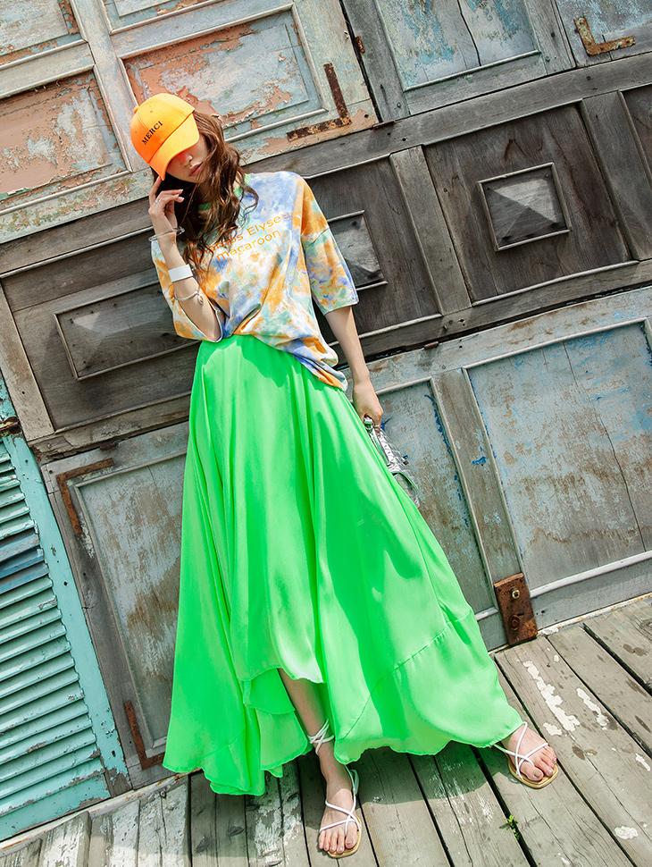 SK1902 不规则超长半身裙
