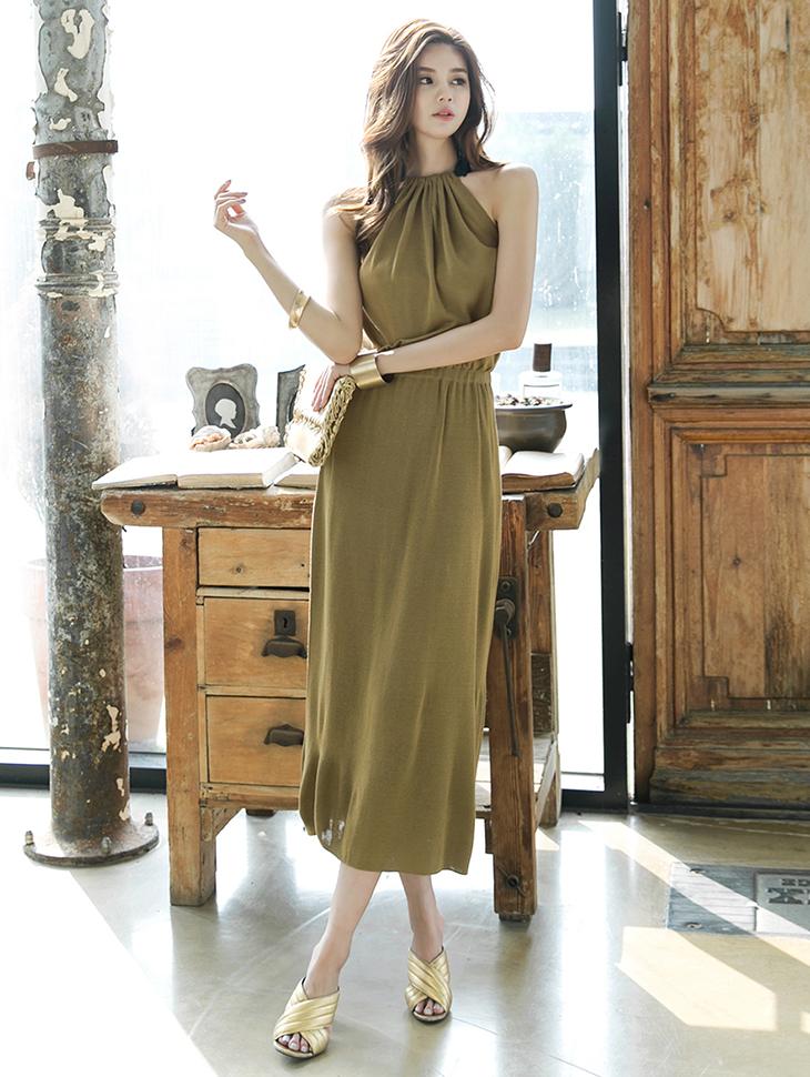 D3612靠背开岔针织衫袒肩甲板连裙裙(可以前后穿)(79再进货)