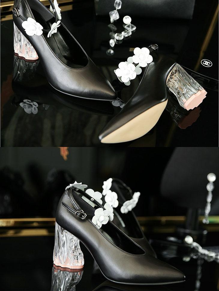 HAR-623花朵皮/束带独特鞋跟*手工制作*