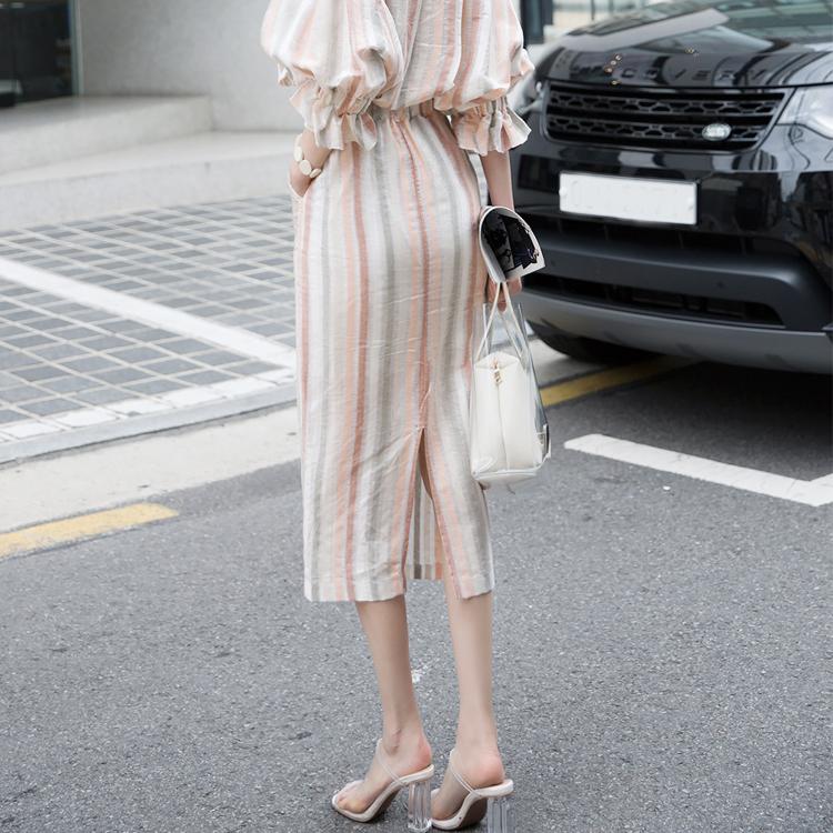 SK1910 直纹线条修身亚麻半身裙 (第6次进货)