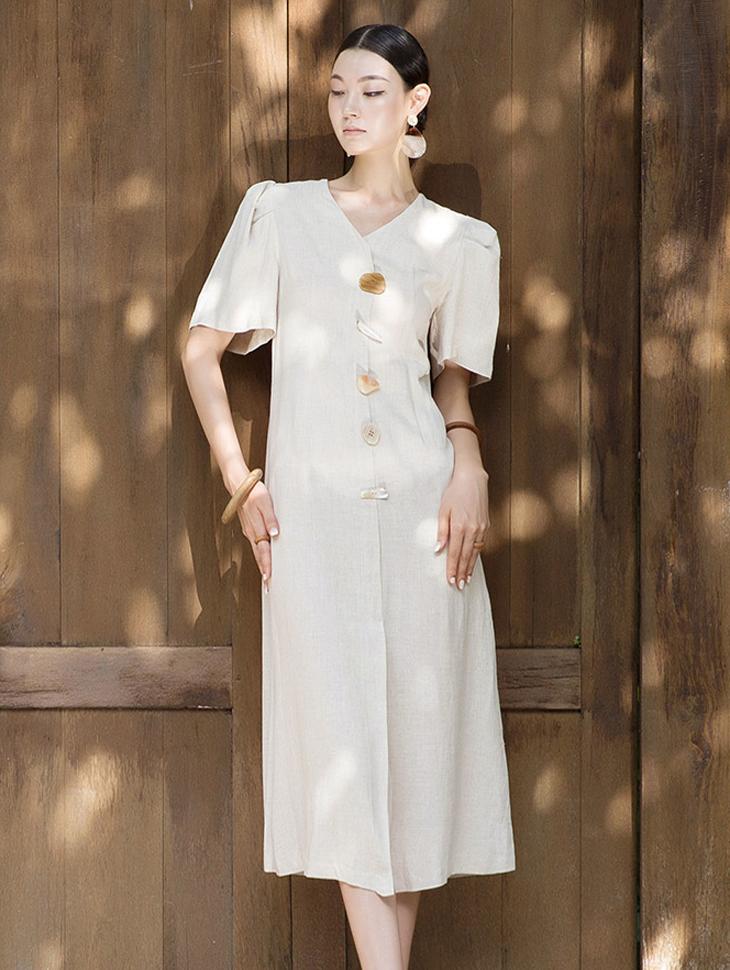 D3845 泡泡袖亚麻石头钮扣连身裙 (第8次进货)