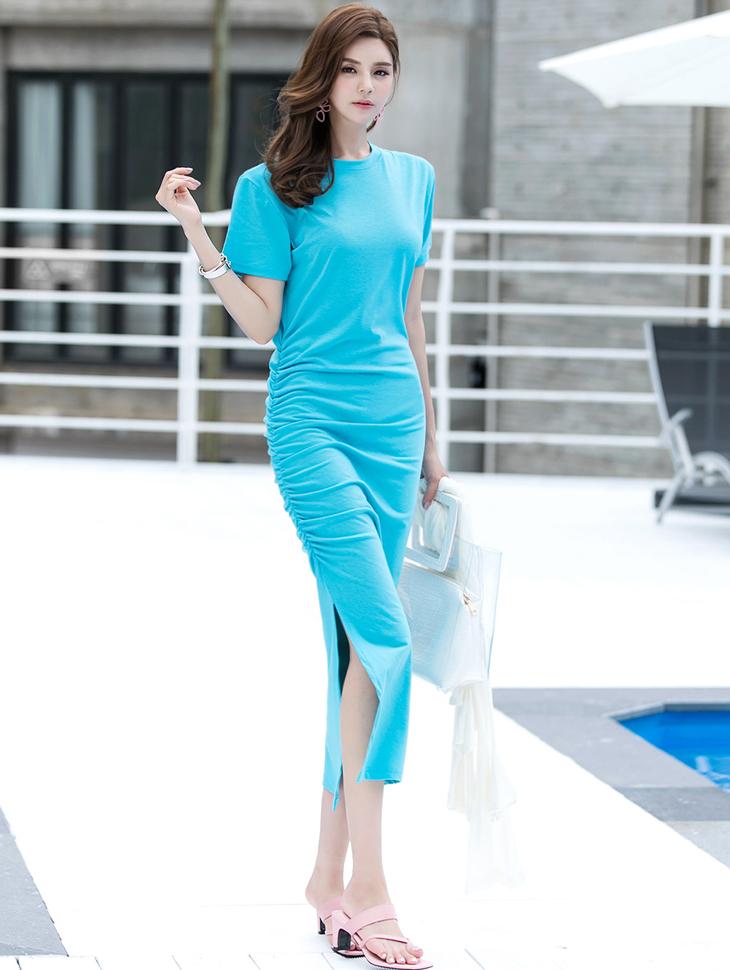 D-4581 Elasticity皱折长版连身裙(15进货)