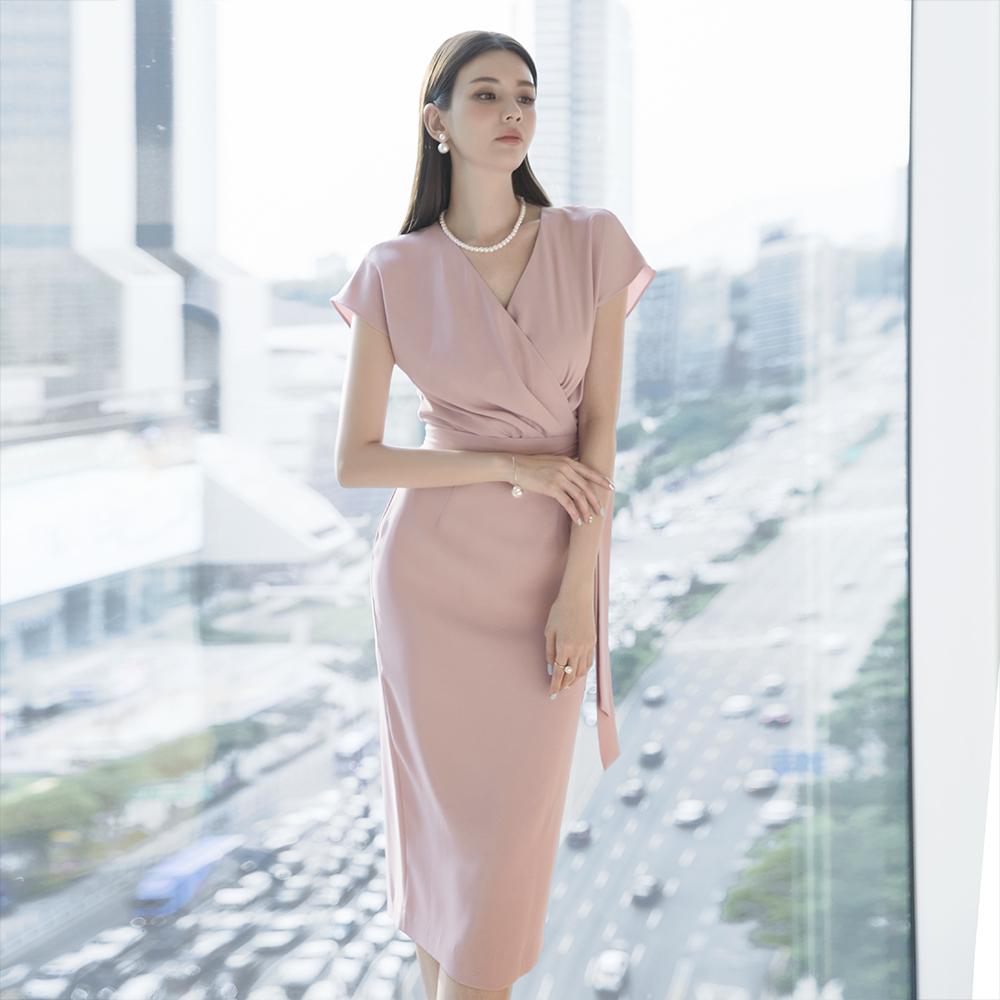 D3824 皱褶绑带连身裙 (腰带组合) (第25次进货)