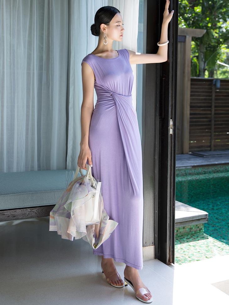 D3859 皱褶无袖连身裙 (第20次进货)