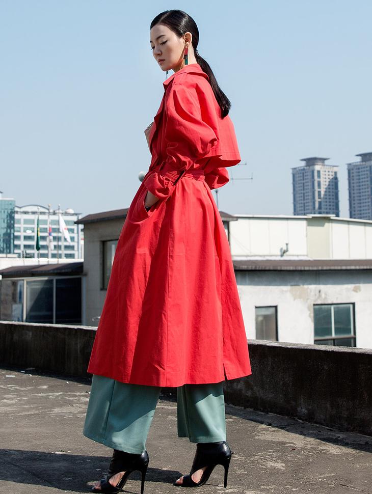 J620 Yuroline肥厚风衣呢子大衣(腰带套)*米色*