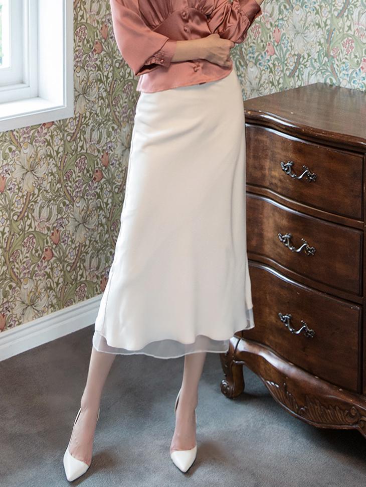 SK1927 舒适丝滑透视配色半身裙