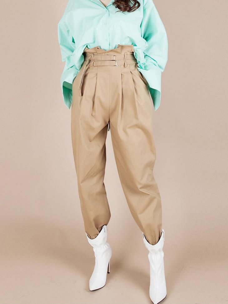 P2124 高腰皮带扣裤